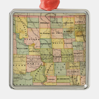 Map of Dakota Square Metal Christmas Ornament