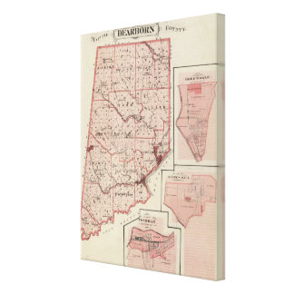 Map of Dearborn County with Greendale Stretched Canvas Print