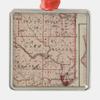 Map of Dearborn County with Greendale Metal Ornament