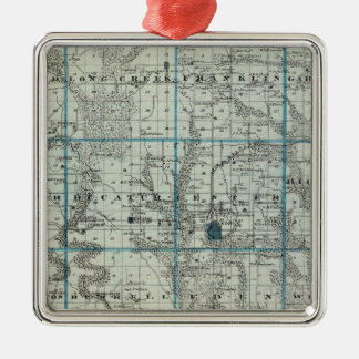 Map of Decatur County, State of Iowa Metal Ornament