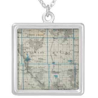 Map of Delaware County, State of Iowa Custom Necklace