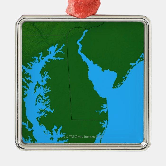 Map of Delaware Metal Ornament