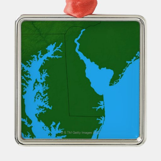 Map of Delaware Square Metal Christmas Ornament