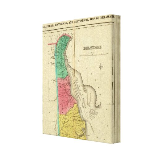 Map Of Delaware Stretched Canvas Print