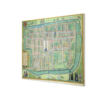 Map of Delft, from 'Civitates Orbis Terrarum' by G Canvas Print