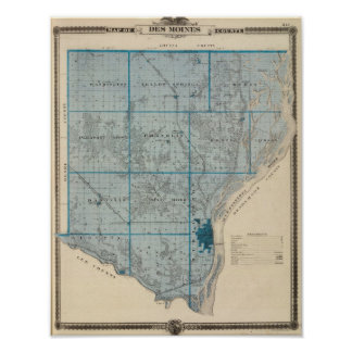 Map of Des Moines County, State of Iowa Posters