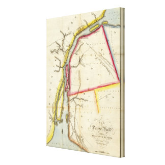 Map of Detroit River and Adjacent Country Canvas Print