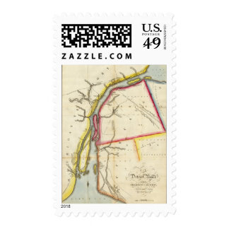 Map of Detroit River and Adjacent Country Postage Stamps