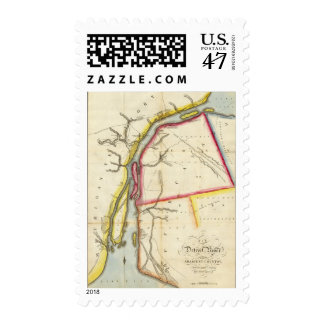 Map of Detroit River and Adjacent Country Stamp