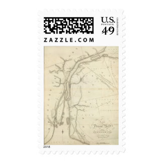 Map of Detroit River Postage Stamps