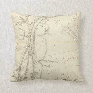 Map of Detroit River Throw Pillow