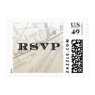 Map of Detroit RSVP stamp