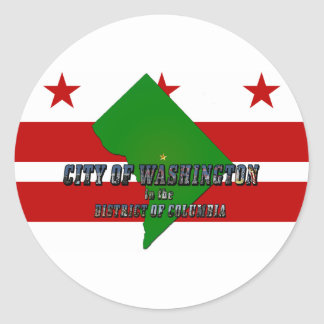 Map of District of Columbia, Flag and Photo Text Classic Round Sticker