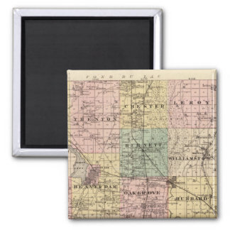 Map of Dodge County, State of Wisconsin 2 Inch Square Magnet