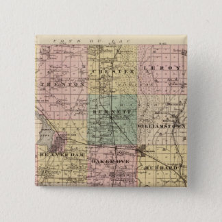 Map of Dodge County, State of Wisconsin Pinback Button