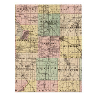 Map of Dodge County, State of Wisconsin Postcard