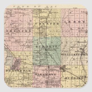 Map of Dodge County, State of Wisconsin Square Sticker