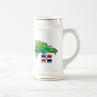 Map of Dominican Republic 18 Oz Beer Stein