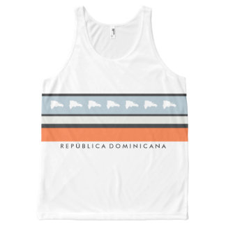 Map of Dominican Republic Stylish Striped All-Over Print Tank Top