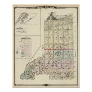Map of Douglas and Burnett counties Poster