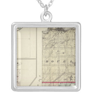 Map of Douglas and Burnett counties Silver Plated Necklace
