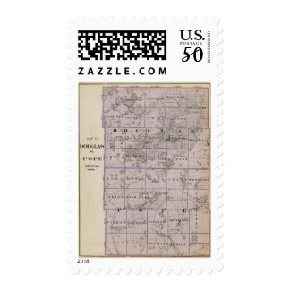 Map of Douglas and Pope Counties, Minnesota Postage