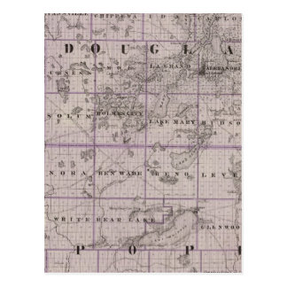 Map of Douglas and Pope Counties, Minnesota Postcard