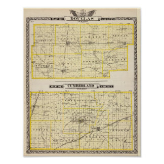 Map of Douglas County Map of Cumberland County Poster