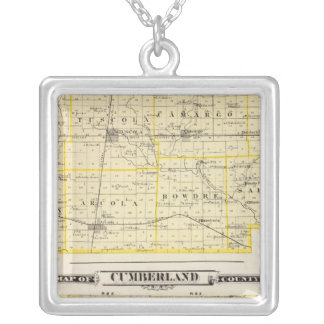 Map of Douglas County Map of Cumberland County Silver Plated Necklace