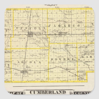 Map of Douglas County Map of Cumberland County Square Sticker