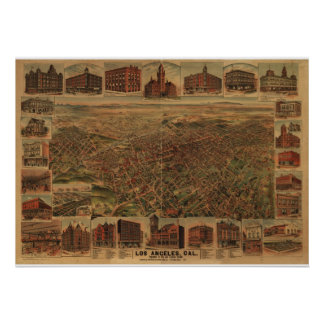 Map of Downtown Los Angeles, Birds-Eye View, 1891 Poster