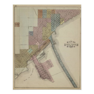 Map of Duluth, St. Louis County, Minnesota Print