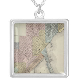 Map of Duluth, St. Louis County, Minnesota Silver Plated Necklace