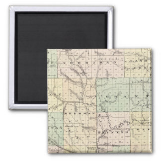Map of Dunn County, State of Wisconsin 2 Inch Square Magnet