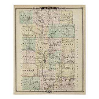 Map of Dunn County, State of Wisconsin Poster