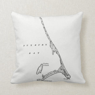 Map of Duxbury Beach Saquish Massachusetts Throw Pillow