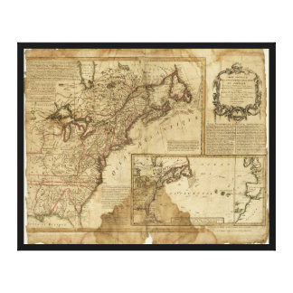 Map of Early America (1780) Canvas Print