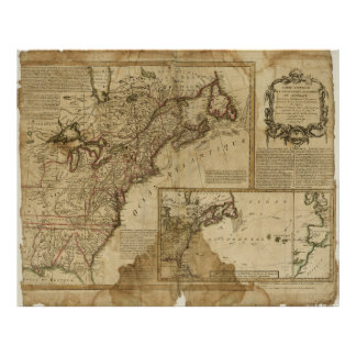 Map of Early America (1780) Poster