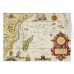 Map of East Africa and Madagascar, 1596 (hand colo Greeting Card