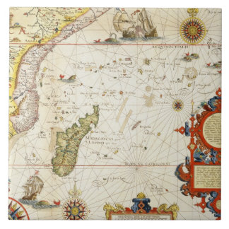 Map of East Africa and Madagascar, 1596 (hand colo Ceramic Tile
