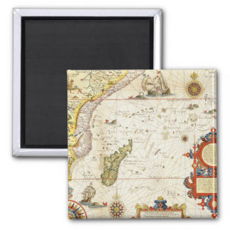 Map of East Africa and Madagascar 1596 hand colo Fridge Magnet