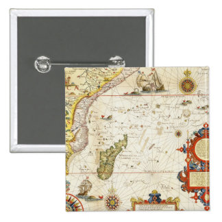 Map of East Africa and Madagascar, 1596 (hand colo Pinback Button