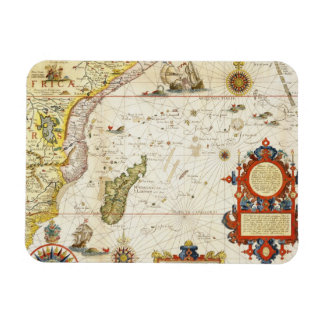 Map of East Africa and Madagascar 1596 hand colo Rectangular Magnets