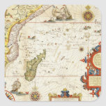 Map of East Africa and Madagascar, 1596 (hand colo Square Sticker