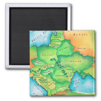 Map of Eastern Europe 2 Inch Square Magnet