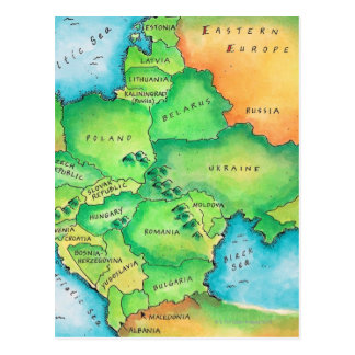 Map of Eastern Europe Postcard