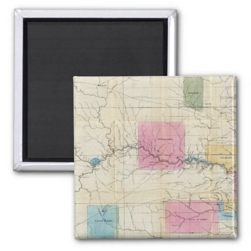 Map of Eastern Kansas 2 Inch Square Magnet