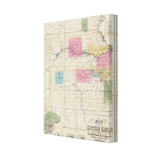 Map of Eastern Kansas Canvas Print