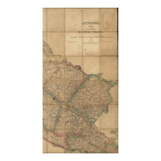 Map of Eastern Virginia by J Houston Patton (1864) Poster