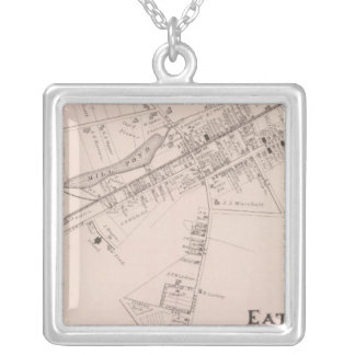 Map of Eatontown, New Jersey Silver Plated Necklace